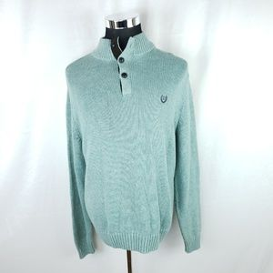 Chaps Mens Large Long Sleeve Sweater Cotton Green